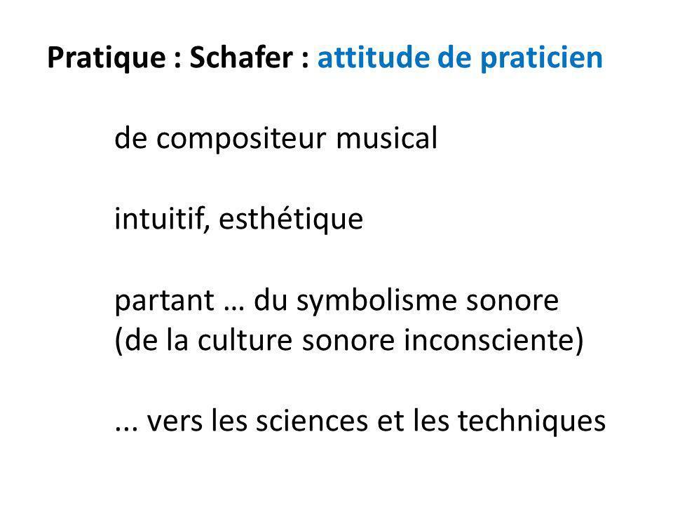 Pratique : Schafer : attitude de praticien de compositeur musical intuitif, esthétique partant … du symbolisme sonore (de la culture sonore inconscien