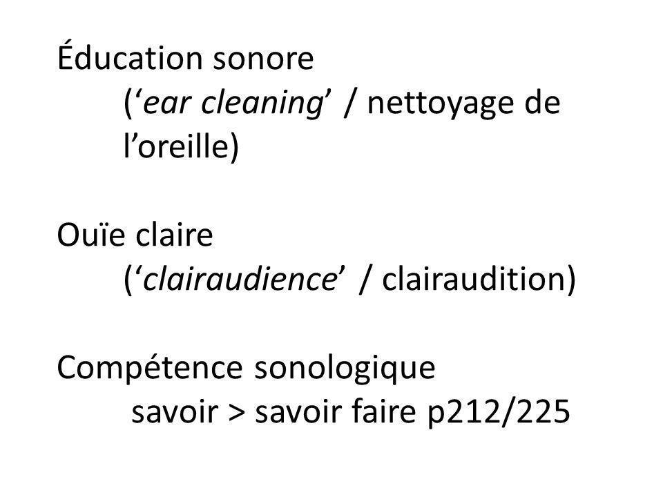 Éducation sonore (ear cleaning / nettoyage de loreille) Ouïe claire (clairaudience / clairaudition) Compétence sonologique savoir > savoir faire p212/
