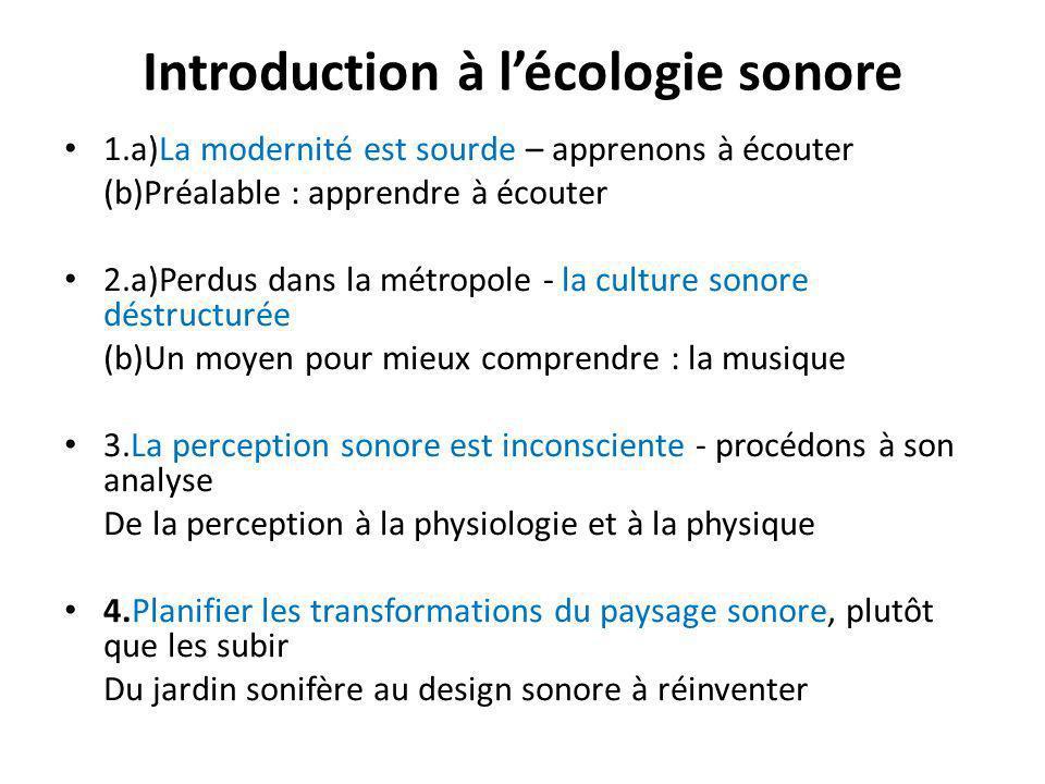 Introduction à lécologie sonore 1.a)La modernité est sourde – apprenons à écouter (b)Préalable : apprendre à écouter 2.a)Perdus dans la métropole - la