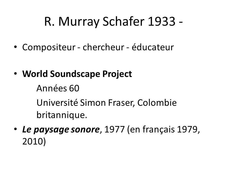 R. Murray Schafer 1933 - Compositeur - chercheur - éducateur World Soundscape Project Années 60 Université Simon Fraser, Colombie britannique. Le pays