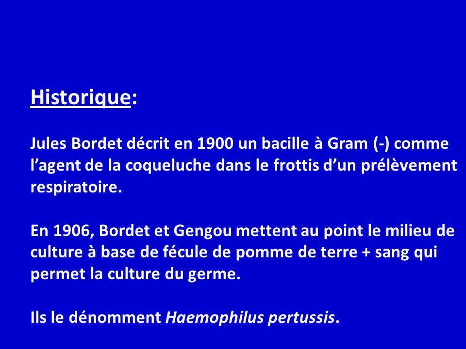Historique: Jules Bordet décrit en 1900 un bacille à Gram (-) comme lagent de la coqueluche dans le frottis dun prélèvement respiratoire. En 1906, Bor