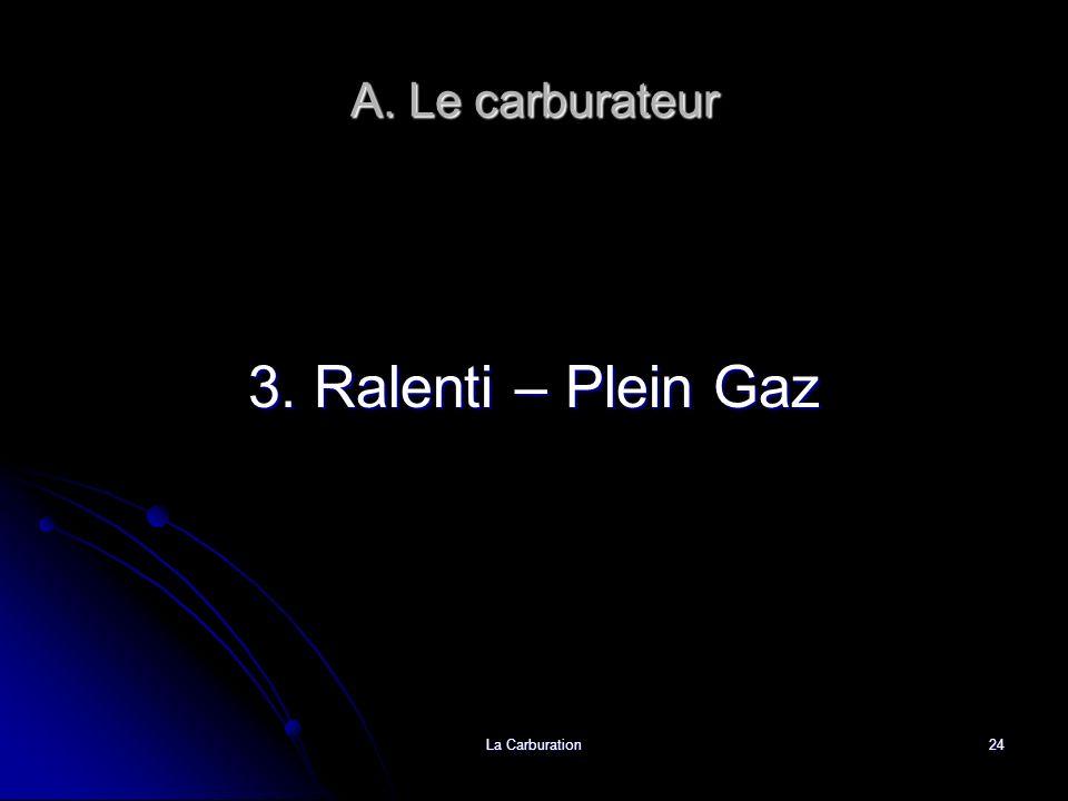 La Carburation24 A. Le carburateur 3. Ralenti – Plein Gaz