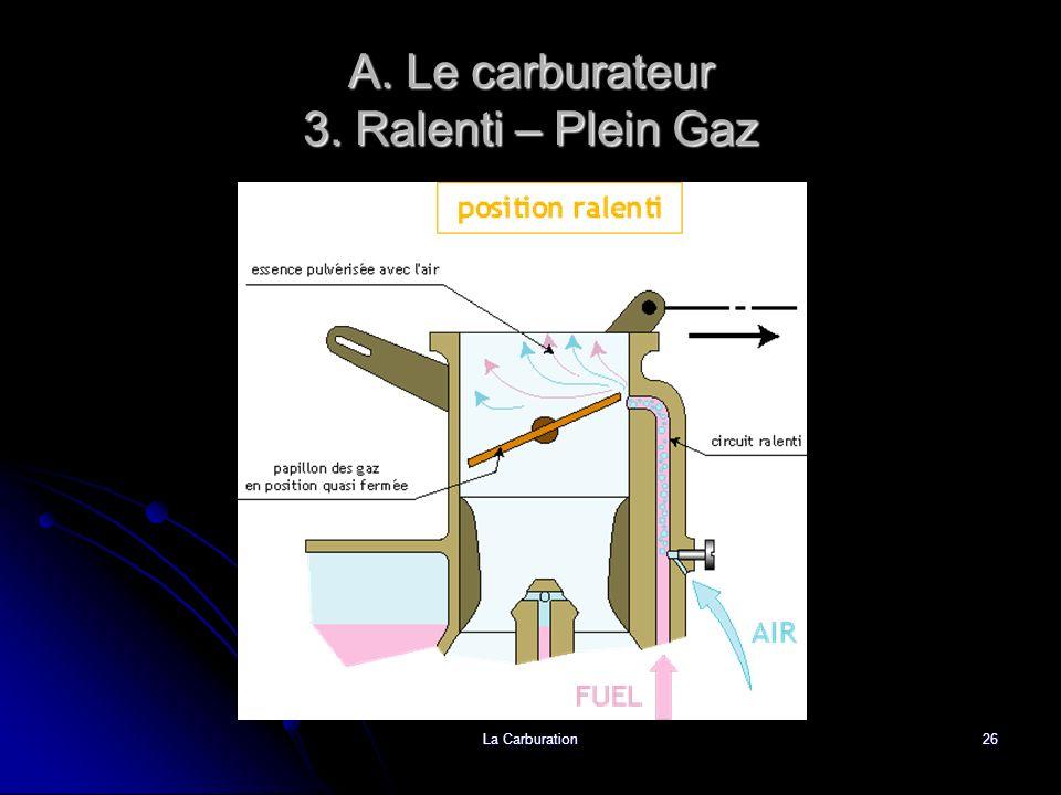 La Carburation26 A. Le carburateur 3. Ralenti – Plein Gaz