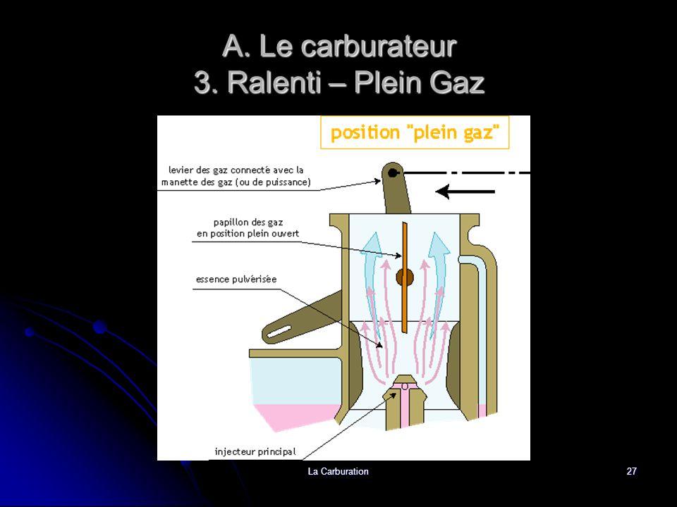 La Carburation27 A. Le carburateur 3. Ralenti – Plein Gaz