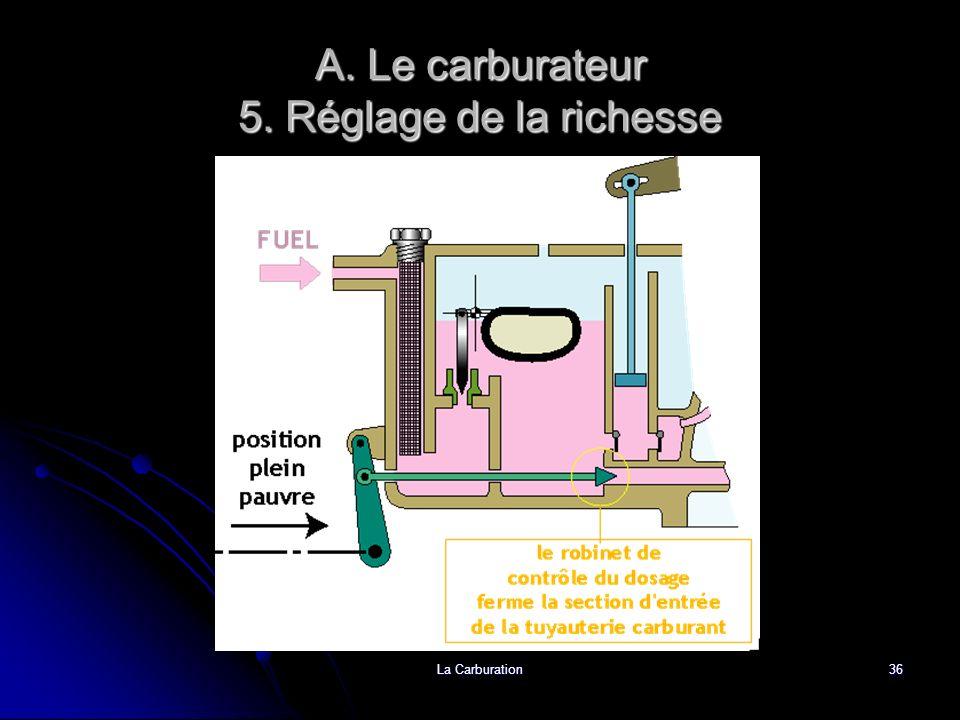La Carburation36 A. Le carburateur 5. Réglage de la richesse