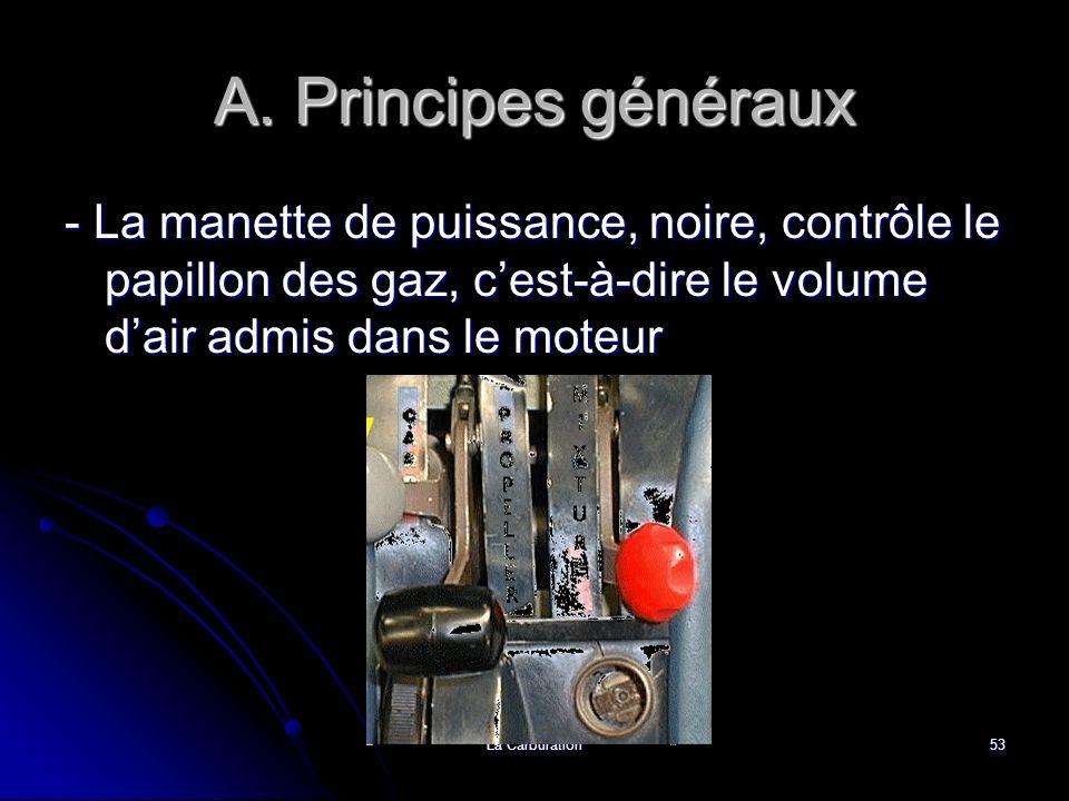 La Carburation53 A. Principes généraux - La manette de puissance, noire, contrôle le papillon des gaz, cest-à-dire le volume dair admis dans le moteur
