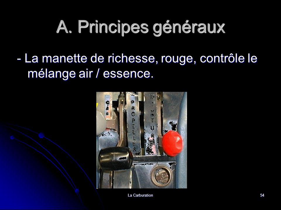 La Carburation54 A. Principes généraux - La manette de richesse, rouge, contrôle le mélange air / essence.