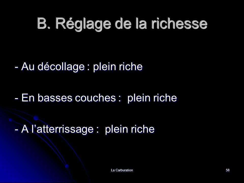 La Carburation58 B. Réglage de la richesse - Au décollage : plein riche - En basses couches : plein riche - A latterrissage : plein riche