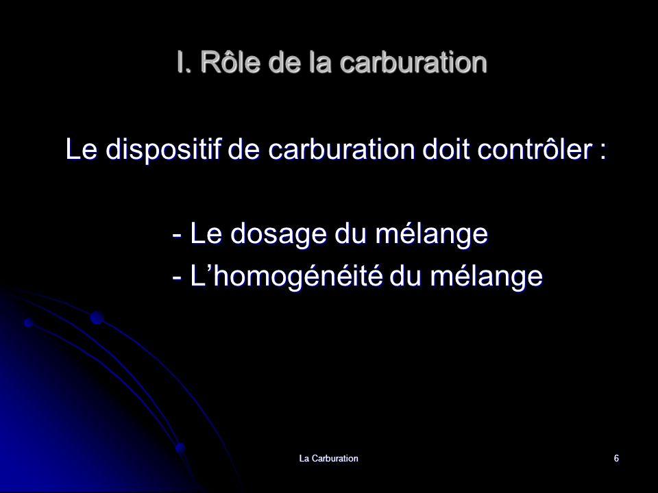 La Carburation6 I. Rôle de la carburation Le dispositif de carburation doit contrôler : - Le dosage du mélange - Lhomogénéité du mélange