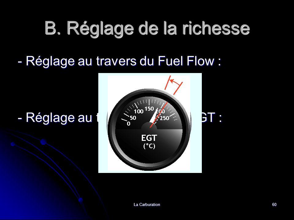 La Carburation60 B. Réglage de la richesse - Réglage au travers du Fuel Flow : - Réglage au travers du pic dEGT :