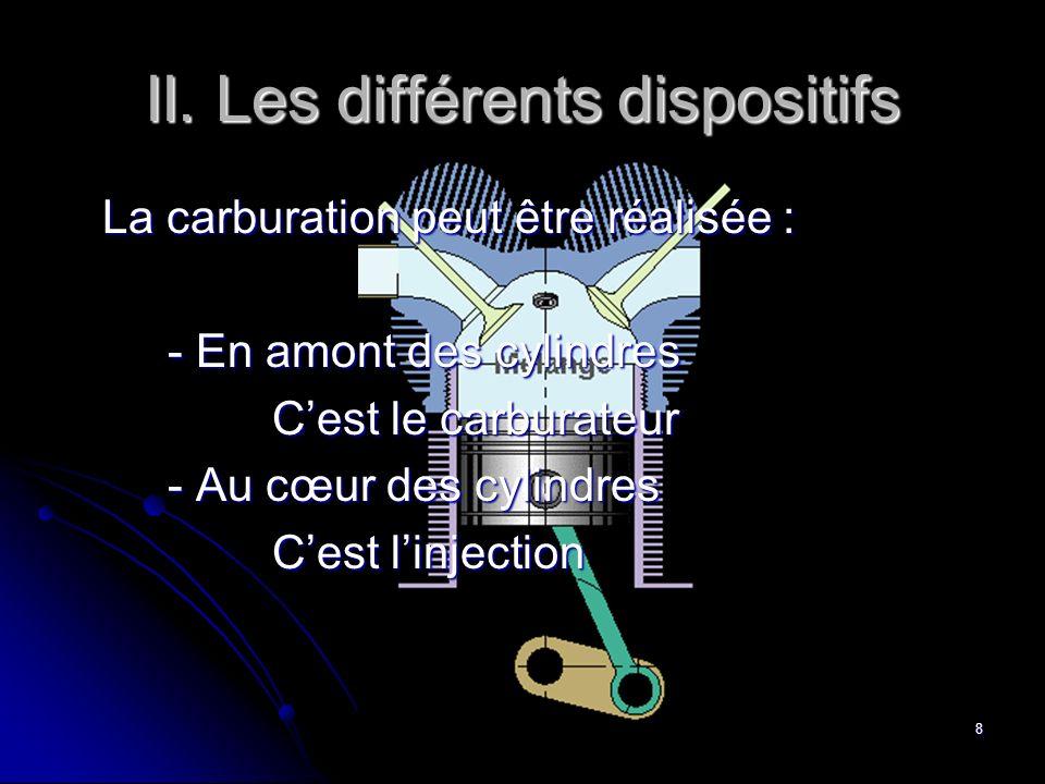 La Carburation8 II. Les différents dispositifs La carburation peut être réalisée : - En amont des cylindres Cest le carburateur - Au cœur des cylindre