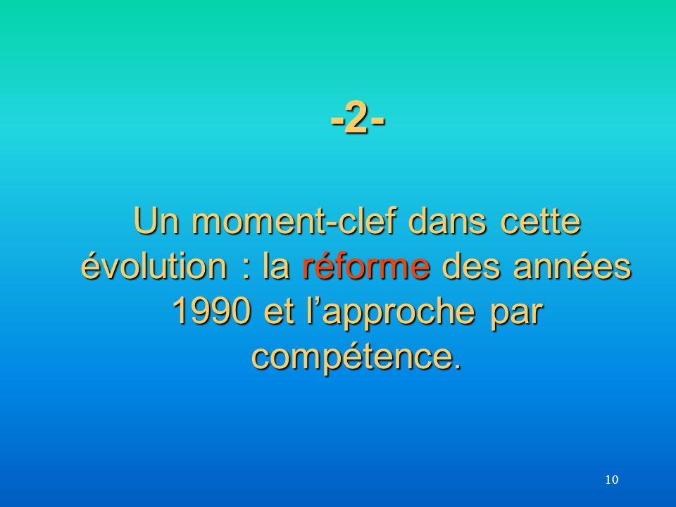 10 -2- Un moment-clef dans cette évolution : la réforme des années 1990 et lapproche par compétence.