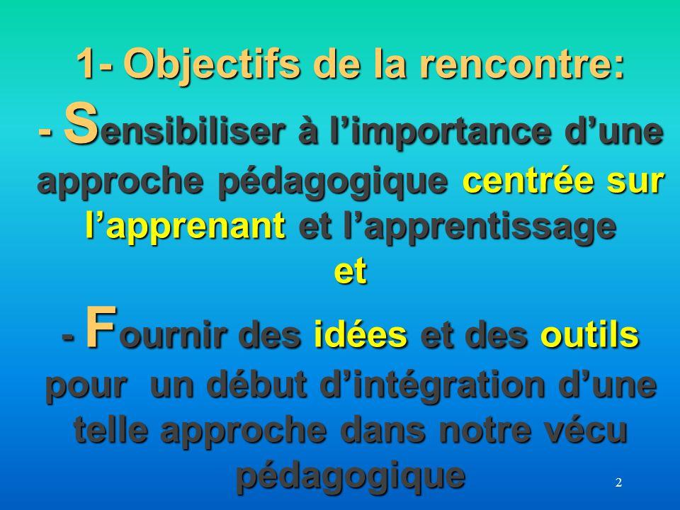 2 1- Objectifs de la rencontre: - S ensibiliser à limportance dune approche pédagogique centrée sur lapprenant et lapprentissage et - F ournir des idé