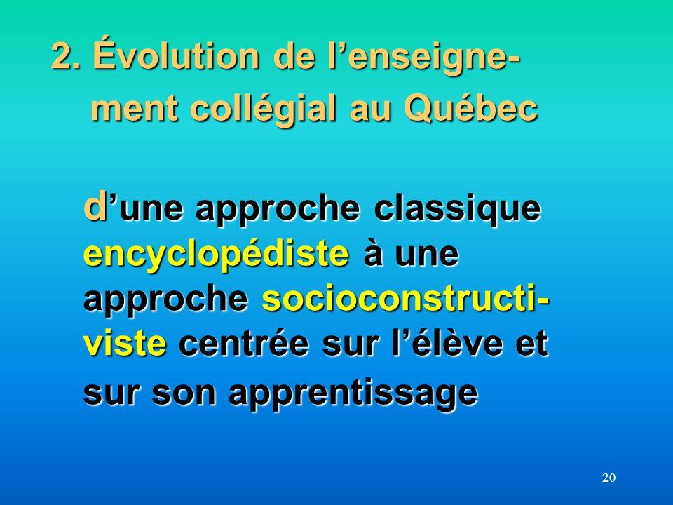 20 2. Évolution de lenseigne- ment collégial au Québec d une approche classique encyclopédiste à une approche socioconstructi- viste centrée sur lélèv