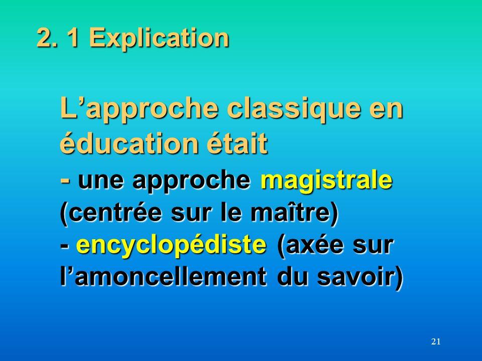 21 2. 1 Explication Lapproche classique en éducation était - une approche magistrale (centrée sur le maître) - encyclopédiste (axée sur lamoncellement