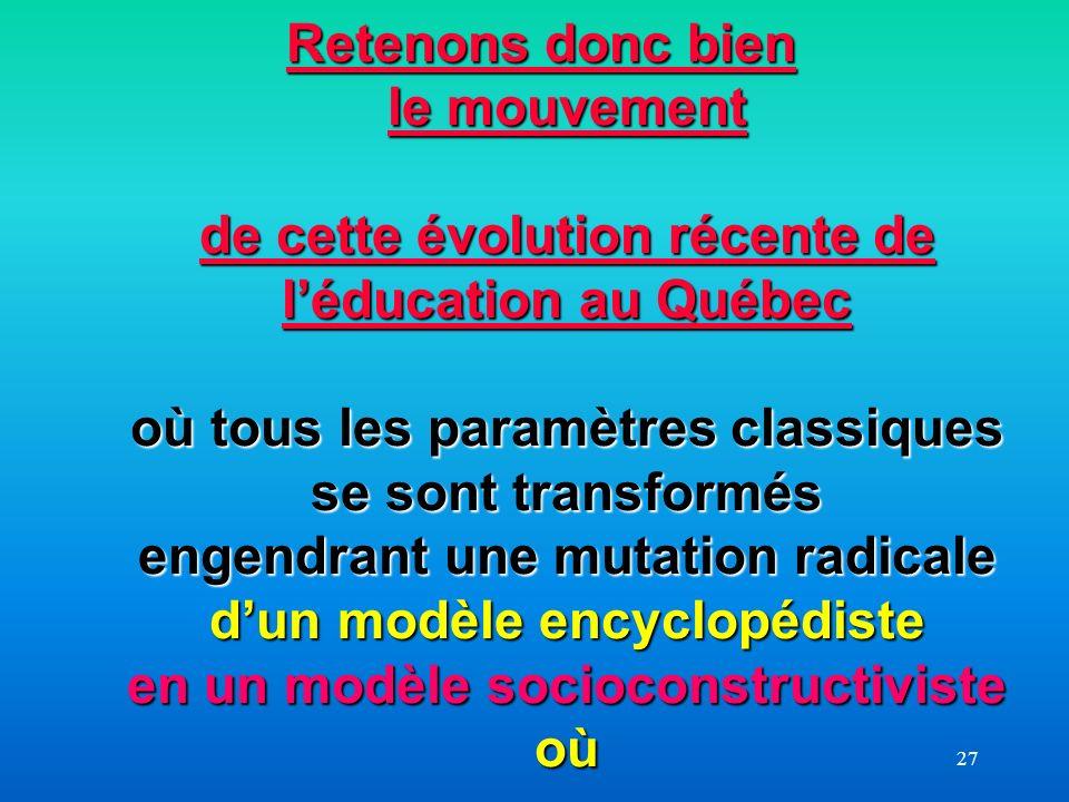 27 Retenons donc bien le mouvement de cette évolution récente de léducation au Québec où tous les paramètres classiques se sont transformés engendrant