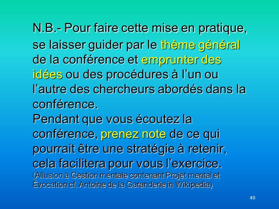40 N.B.- Pour faire cette mise en pratique, se laisser guider par le thème général de la conférence et emprunter des idées ou des procédures à lun ou