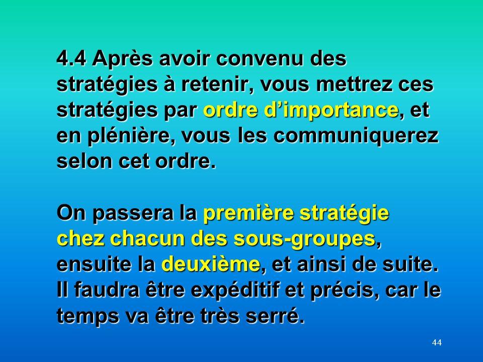 44 4.4 Après avoir convenu des stratégies à retenir, vous mettrez ces stratégies par ordre dimportance, et en plénière, vous les communiquerez selon c