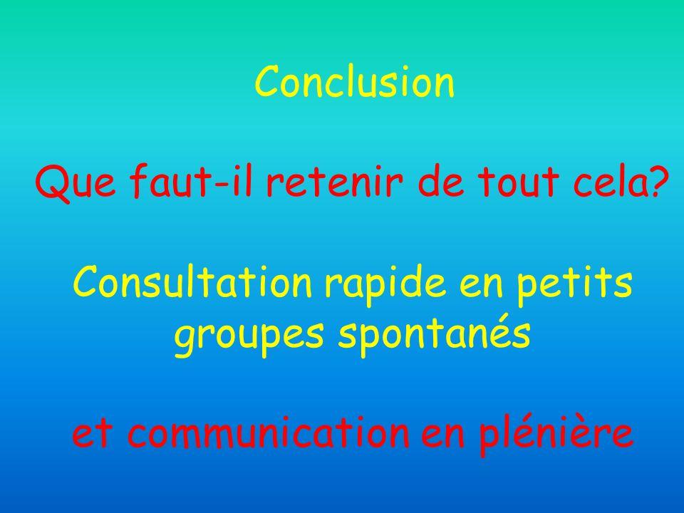 Conclusion Que faut-il retenir de tout cela? Consultation rapide en petits groupes spontanés et communication en plénière