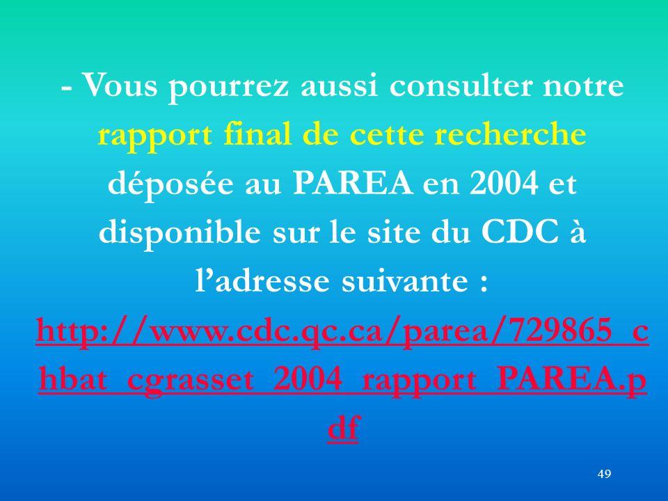 49 - Vous pourrez aussi consulter notre rapport final de cette recherche déposée au PAREA en 2004 et disponible sur le site du CDC à ladresse suivante