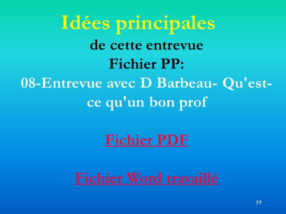 55 Idées principales de cette entrevue Fichier PP: 08-Entrevue avec D Barbeau- Qu'est- ce qu'un bon prof Fichier PDF Fichier Word travaillé