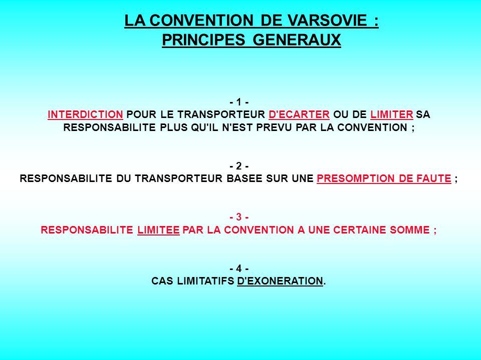 LE SYSTEME DE VARSOVIE : DIFFERENTES CONVENTIONS Convention de Varsovie (12 octobre 1929) Protocole de La Haye (28 septembre 1955) Accord intérimaire de Montréal (4 mai 1966) Protocole de Guatemala City (8 mars 1971) Convention de Guadalajara (18 septembre 1961) Protocole de Montréal n°1 (25 septembre 1975) Protocole de Montréal n°2 (25 septembre 1975) Protocole de Montréal n°3 (25 septembre 1975) Protocole de Montréal n°4 (25 septembre 1975)