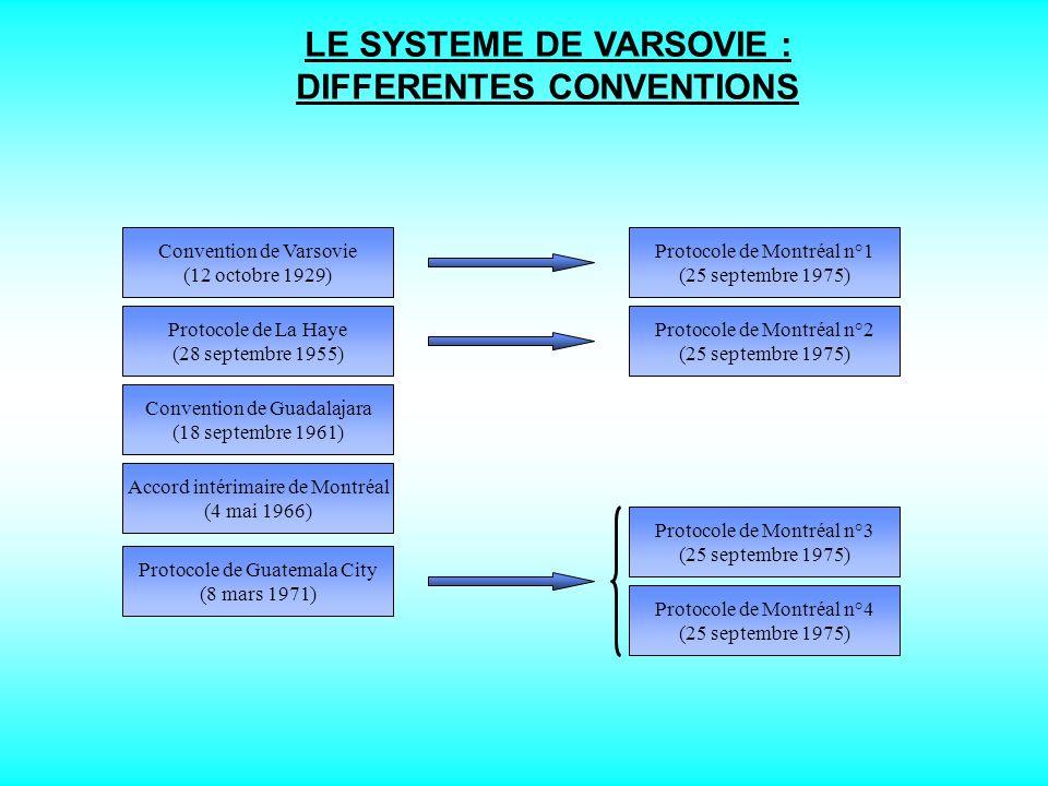 LE SYSTEME DE VARSOVIE : TEXTES APPLICABLES A LA FRANCE - 1 - CONVENTION DE VARSOVIE - 1929 - 125.000 FRANCS OR POINCARE EQUIVAUT A 50.000 FRF - 2 - PROTOCOLE DE LA HAYE - 1955 - 250.000 FRANCS OR POINCARE EQUIVAUT A 100.000 FRF - 3 - CONVENTION DE GUADALAJARA - 1961 - APPLICATION DE LA CONVENTION DE VARSOVIE AU TRANSPORTEUR DE FAIT - 4 - ACCORD INTERIMAIRE DE MONTREAL - 1966 - TRANSPORT AVEC LES ETATS-UNIS : 75.000 $US - 5 - PROTOCOLES 1, 2 ET 4 DE MONTREAL - 1975 - CONVERSION EN DTS DES MONTANTS DU SYSTEME DE VARSOVIE