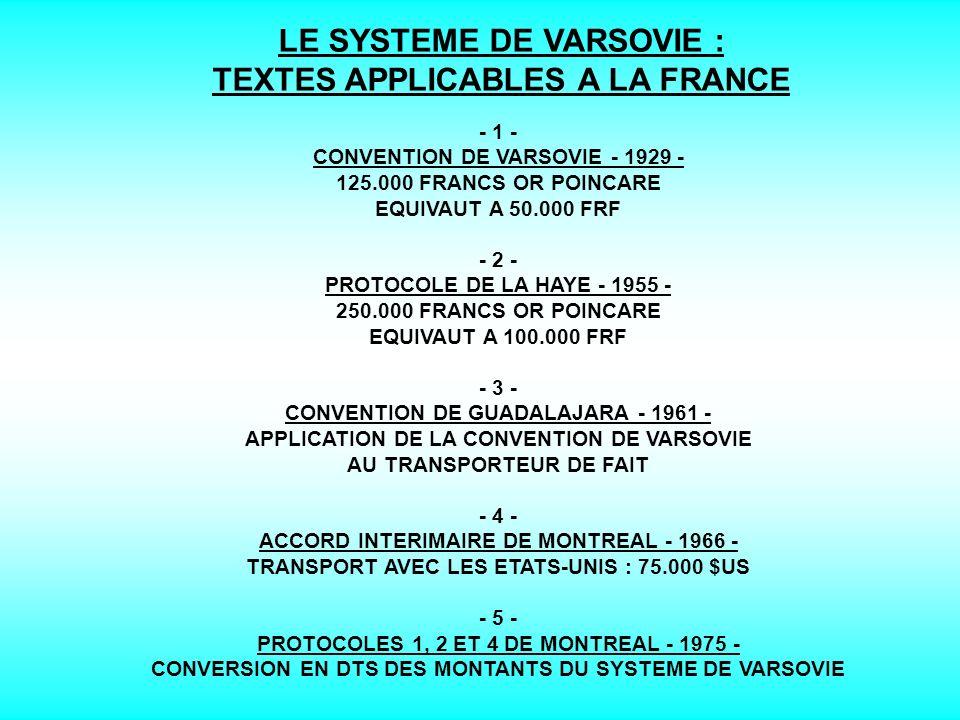LE SYSTEME DE VARSOVIE : CHAMP D APPLICATION LA CONVENTION DE VARSOVIE S APPLIQUE : - 1 - AUX CONTRATS DE TRANSPORT AERIEN ONEREUX ; - 2 - AUX TRANSPORTS REALISES SUR LE TERRITOIRE DE DEUX ETATS CONTRACTANTS OU SUR LE TERRITOIRE D UN SEUL PAYS A CONDITION QU IL Y AIT UNE ESCALE DANS UN ETAT TIERS ADHERENTOU NON A LA CONVENTION DE VARSOVIE ; - 3 - AUSSi AUX TRANSPORTS EFFECTUES PAR L ETAT.