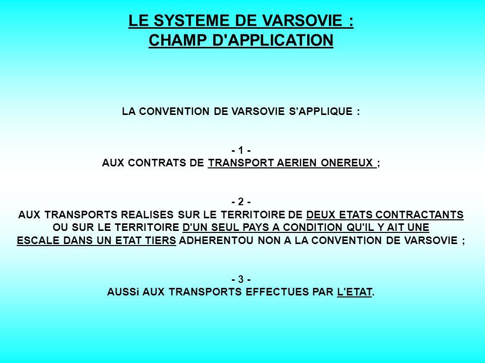 LE SYSTEME DE VARSOVIE : LA CONCLUSION DU CONTRAT DE TRANSPORT AERIEN LA LETTRE DE TRANSPORT AERIEN (LTA): 1 -LA LETTRE DE TRANSPORT AERIEN (LTA): - SUPPORT DU CONTRAT DE TRANSPORT AERIEN DE MARCHANDISES.
