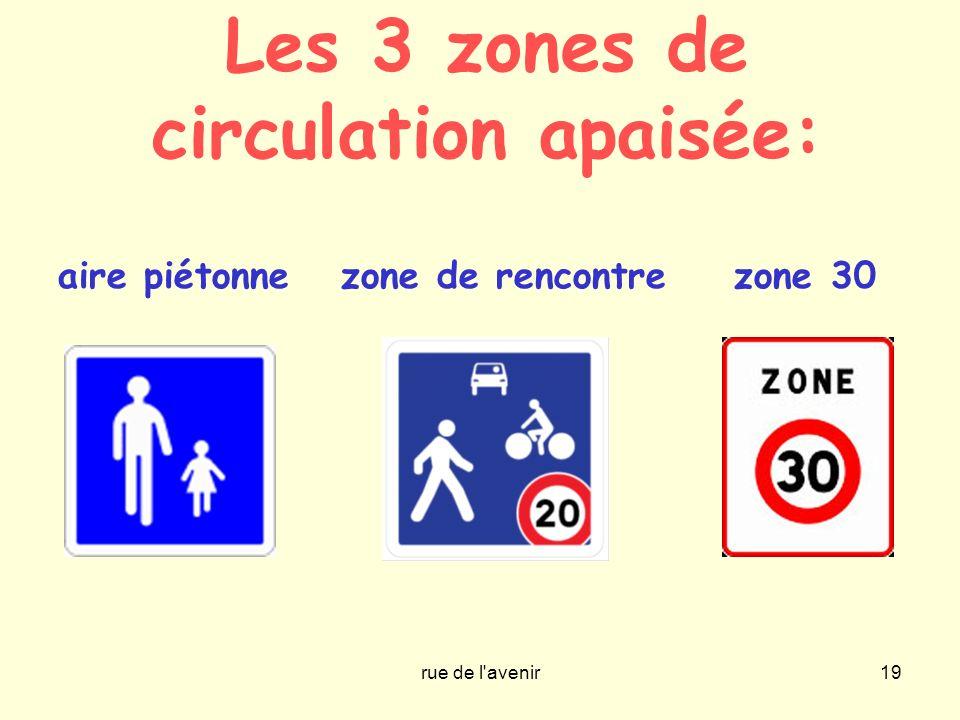 rue de l'avenir19 Les 3 zones de circulation apaisée: aire piétonne zone de rencontre zone 30