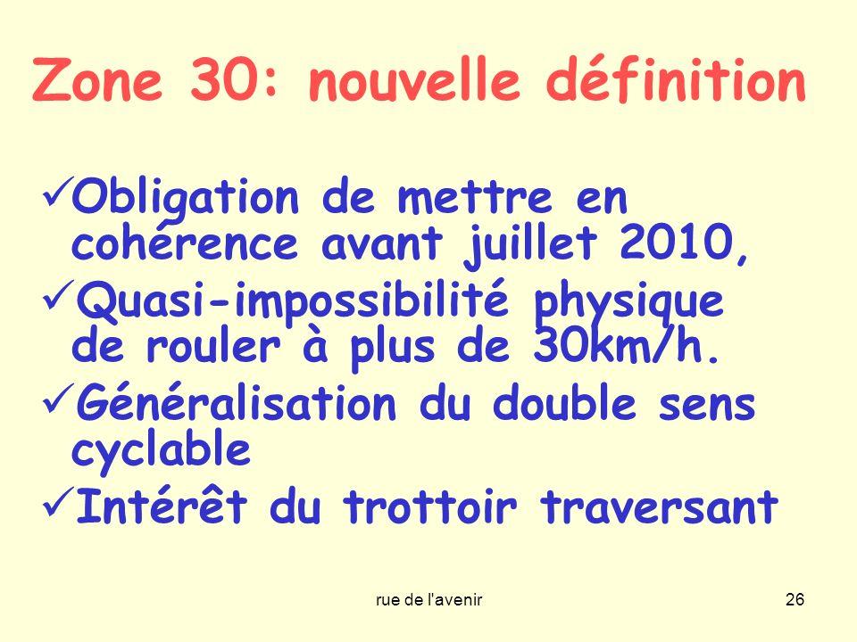 rue de l'avenir26 Zone 30: nouvelle définition Obligation de mettre en cohérence avant juillet 2010, Quasi-impossibilité physique de rouler à plus de