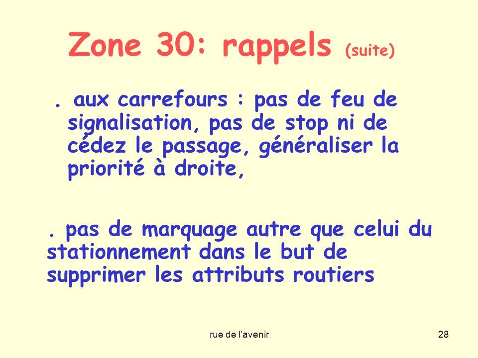 rue de l'avenir28 Zone 30: rappels (suite). aux carrefours : pas de feu de signalisation, pas de stop ni de cédez le passage, généraliser la priorité