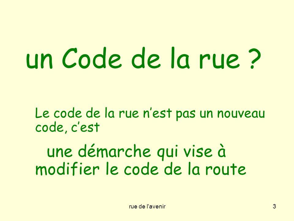 rue de l'avenir3 un Code de la rue ? Le code de la rue nest pas un nouveau code, cest une démarche qui vise à modifier le code de la route