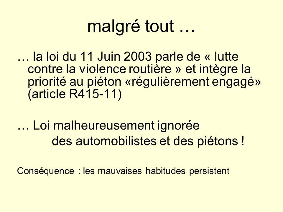 malgré tout … … la loi du 11 Juin 2003 parle de « lutte contre la violence routière » et intègre la priorité au piéton «régulièrement engagé» (article