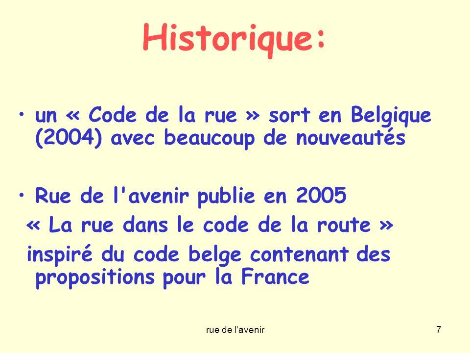rue de l'avenir7 Historique: un « Code de la rue » sort en Belgique (2004) avec beaucoup de nouveautés Rue de l'avenir publie en 2005 « La rue dans le