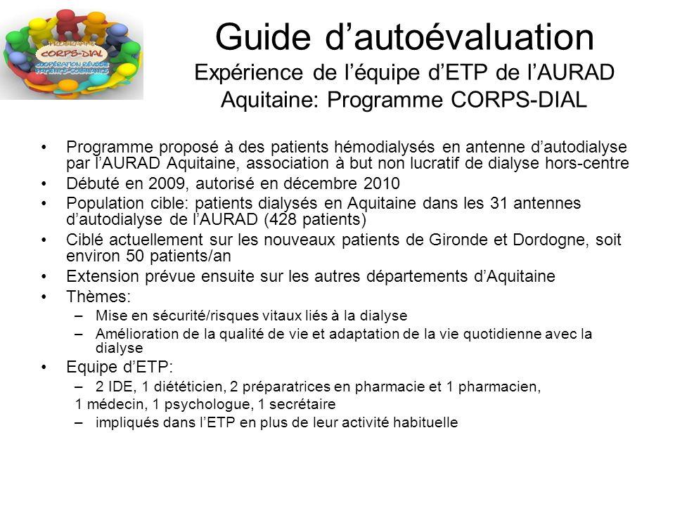 Guide dautoévaluation Expérience de léquipe dETP de lAURAD Aquitaine: Programme CORPS-DIAL Programme proposé à des patients hémodialysés en antenne da