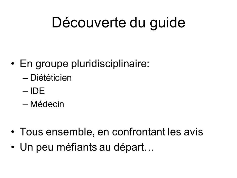 Découverte du guide En groupe pluridisciplinaire: –Diététicien –IDE –Médecin Tous ensemble, en confrontant les avis Un peu méfiants au départ…