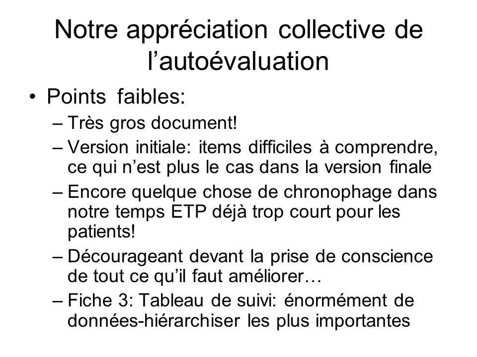 Notre appréciation collective de lautoévaluation Points faibles: –Très gros document! –Version initiale: items difficiles à comprendre, ce qui nest pl