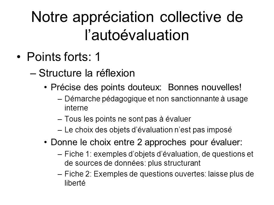 Notre appréciation collective de lautoévaluation Points forts: 1 –Structure la réflexion Précise des points douteux: Bonnes nouvelles! –Démarche pédag