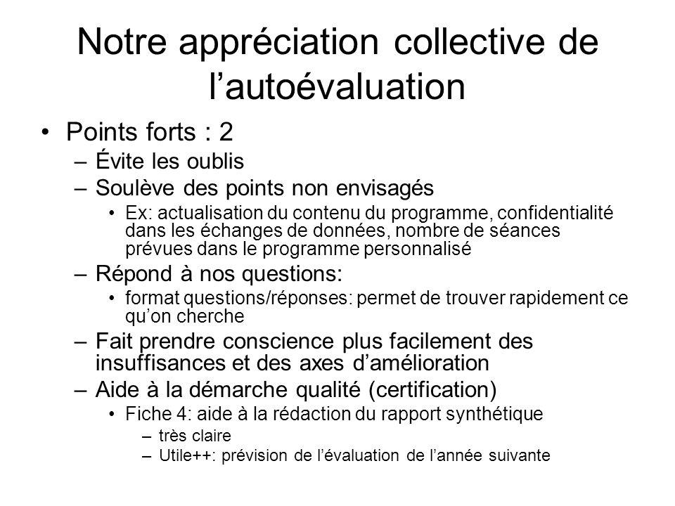 Notre appréciation collective de lautoévaluation Points forts : 2 –Évite les oublis –Soulève des points non envisagés Ex: actualisation du contenu du
