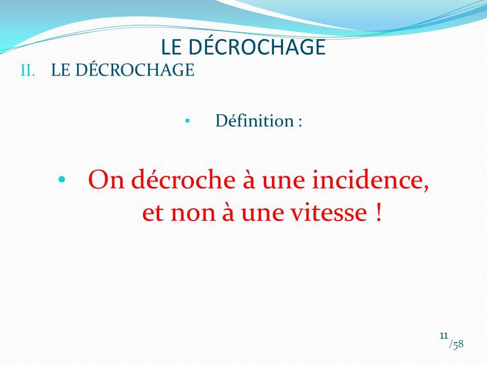 II. LE DÉCROCHAGE Définition : On décroche à une incidence, et non à une vitesse ! /58 11 LE DÉCROCHAGE