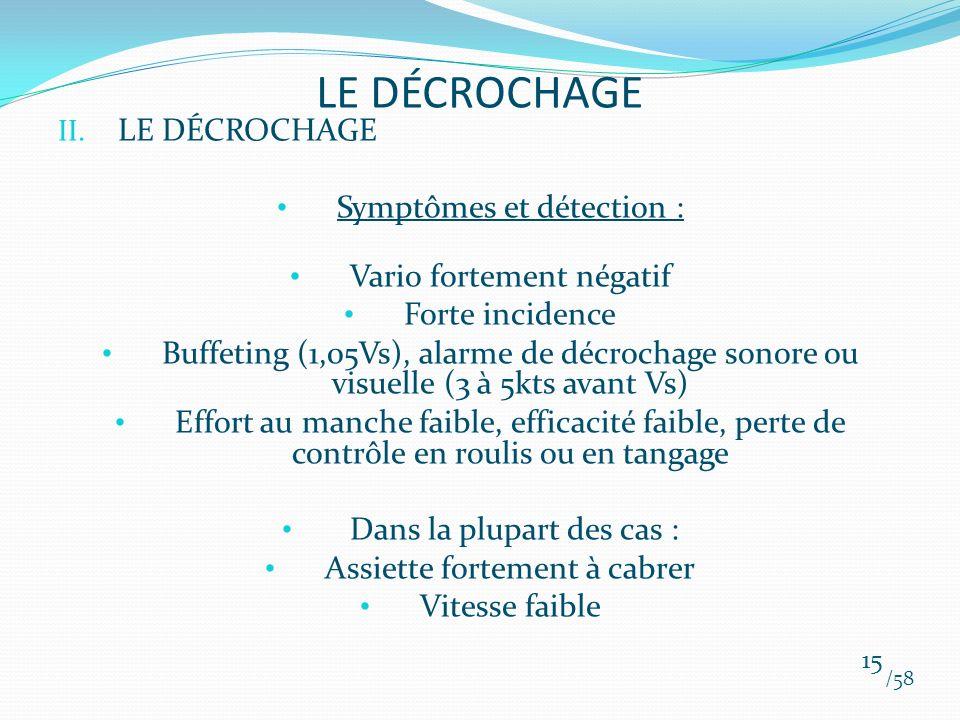 II. LE DÉCROCHAGE Symptômes et détection : Vario fortement négatif Forte incidence Buffeting (1,05Vs), alarme de décrochage sonore ou visuelle (3 à 5k