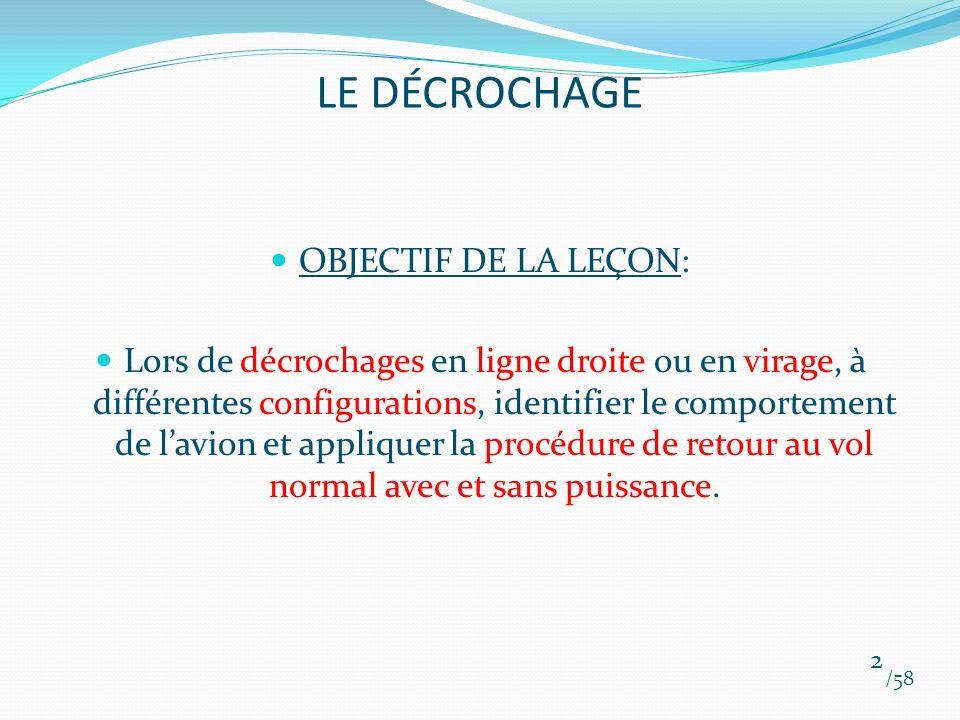 LE DÉCROCHAGE OBJECTIF DE LA LEÇON: Lors de décrochages en ligne droite ou en virage, à différentes configurations, identifier le comportement de lavi