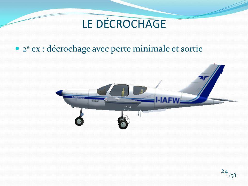 2 e ex : décrochage avec perte minimale et sortie /58 24 LE DÉCROCHAGE