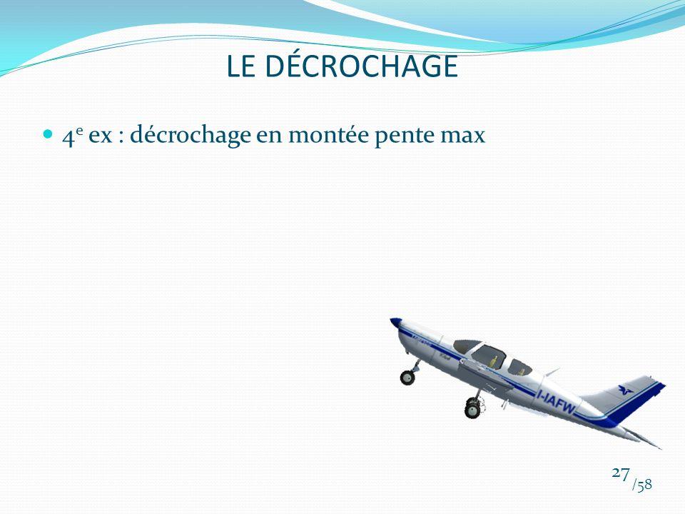 4 e ex : décrochage en montée pente max /58 27 LE DÉCROCHAGE