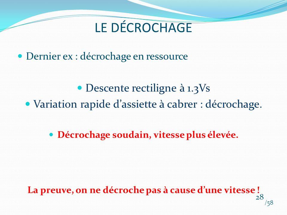 Dernier ex : décrochage en ressource Descente rectiligne à 1.3Vs Variation rapide dassiette à cabrer : décrochage. Décrochage soudain, vitesse plus él