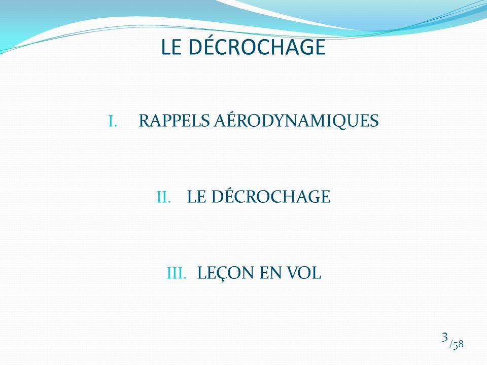 I. RAPPELS AÉRODYNAMIQUES II. LE DÉCROCHAGE III. LEÇON EN VOL /58 3 LE DÉCROCHAGE