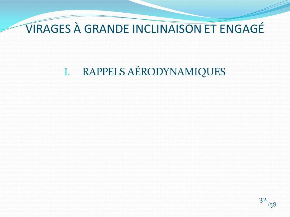 I. RAPPELS AÉRODYNAMIQUES /58 32 VIRAGES À GRANDE INCLINAISON ET ENGAGÉ