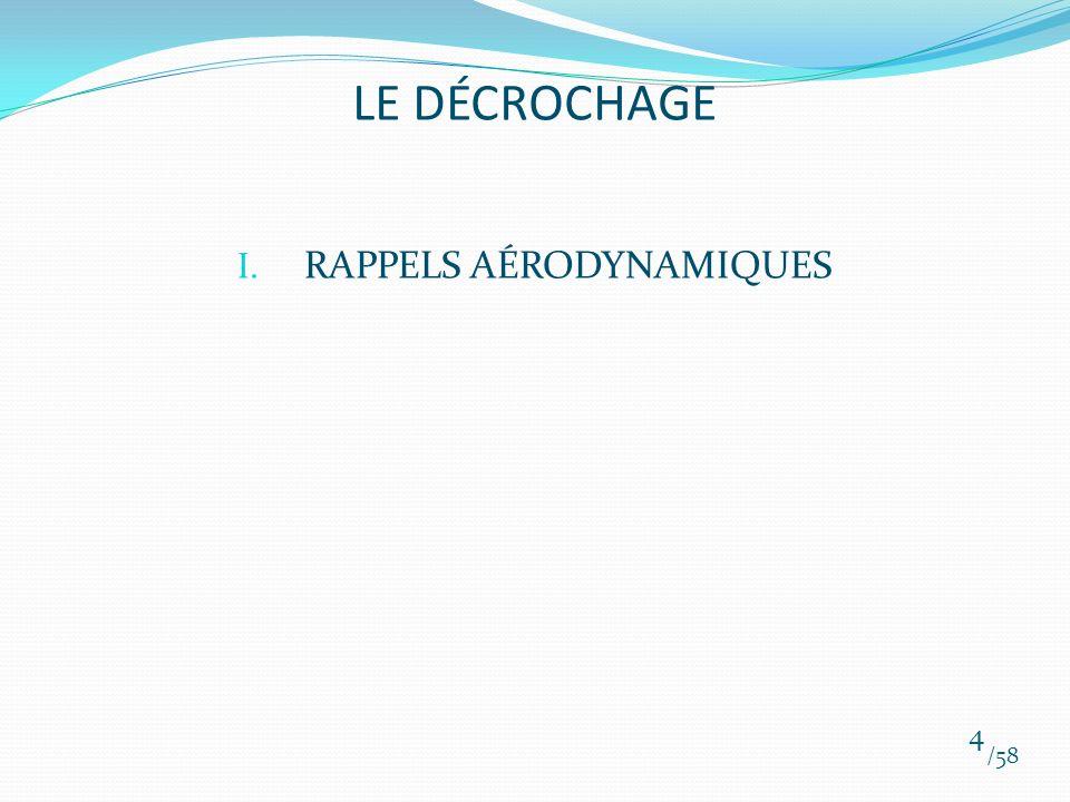 I. RAPPELS AÉRODYNAMIQUES /58 4 LE DÉCROCHAGE