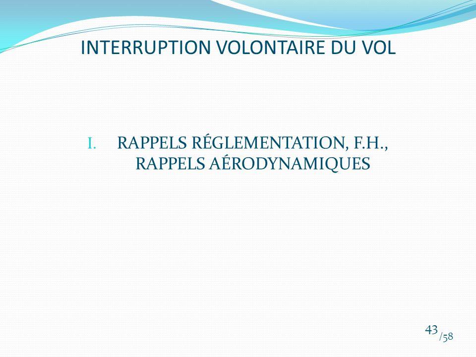 I. RAPPELS RÉGLEMENTATION, F.H., RAPPELS AÉRODYNAMIQUES /58 43 INTERRUPTION VOLONTAIRE DU VOL